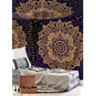 Unique Golden Ombre Tapestry Bohemian Mandala Tapestry Home Decor, Hippie Wall Hanging Bedspread by Craftozone (Blue Golden)