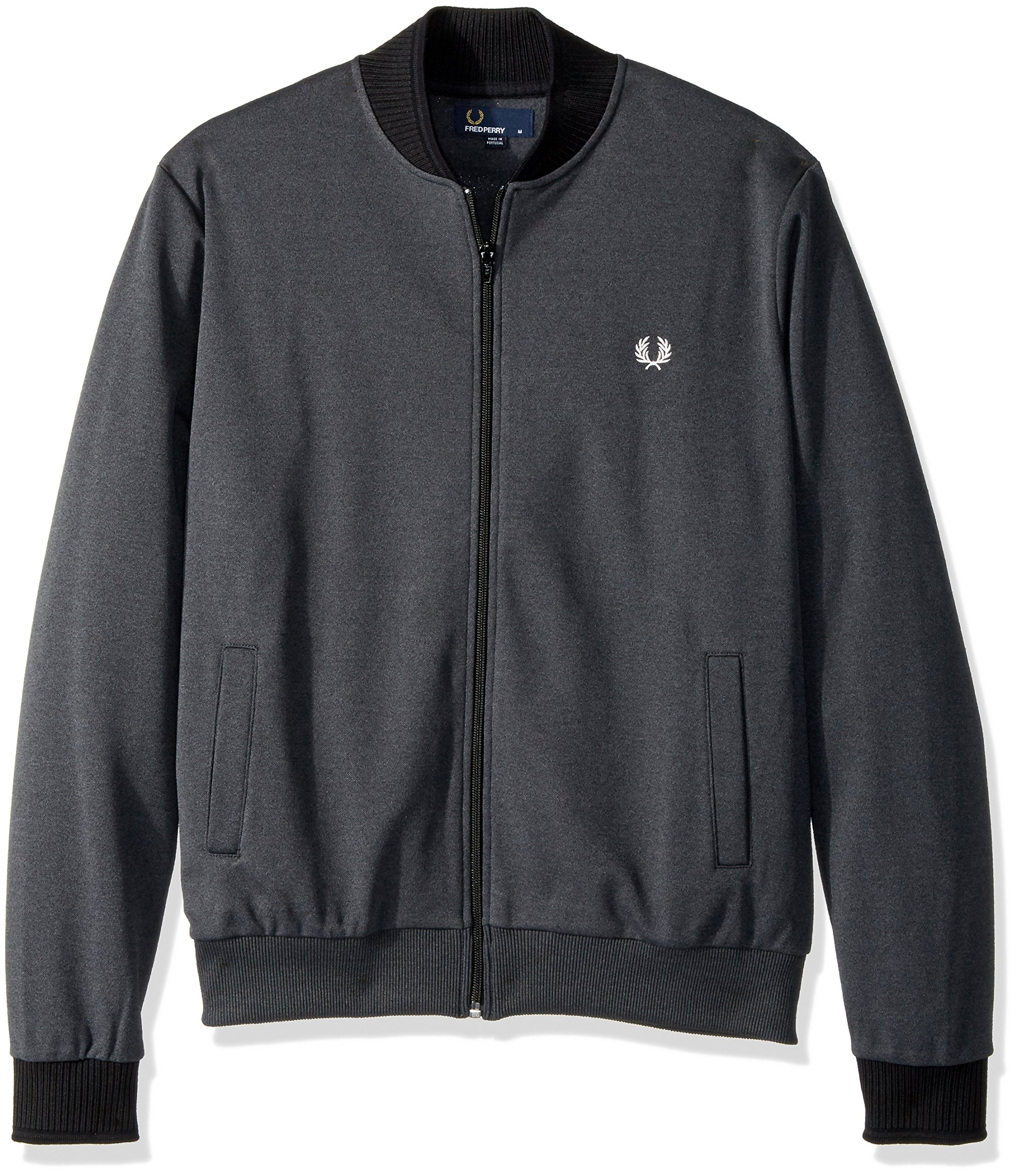Fred Perry Men's Tipped Bomber Neck Track JKT, Charcoal Sol Mar, X-Large