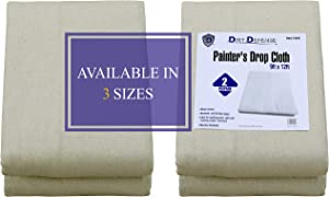 Pack of 2: Canvas Drop Cloth Cotton Tarp 9x12 Large Canvas Tarp for Art Supplies, Drop Cloths for Painting Supplies/Paint Canvas Fabric or Couch Cover and Furniture Cover from Paint by Dirt Defense