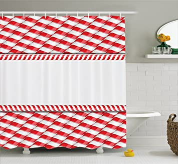 Candy Cane Shower Curtain By Ambesonne Horizontal Border Design With Abstract Traditional Food Pattern Taste