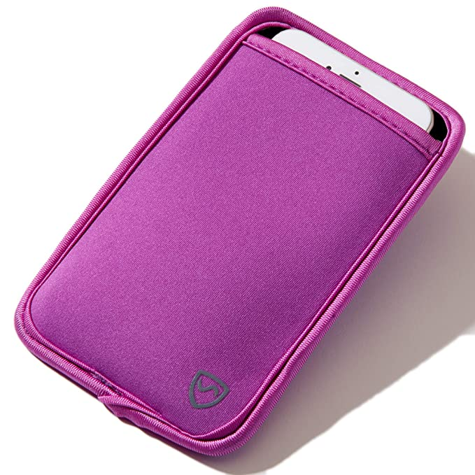 "huge selection of 8bbc7 71a85 SYB Phone Pouch, Neoprene EMF Protection Sleeve for Cell Phones up to 3.25""  Wide, Purple"