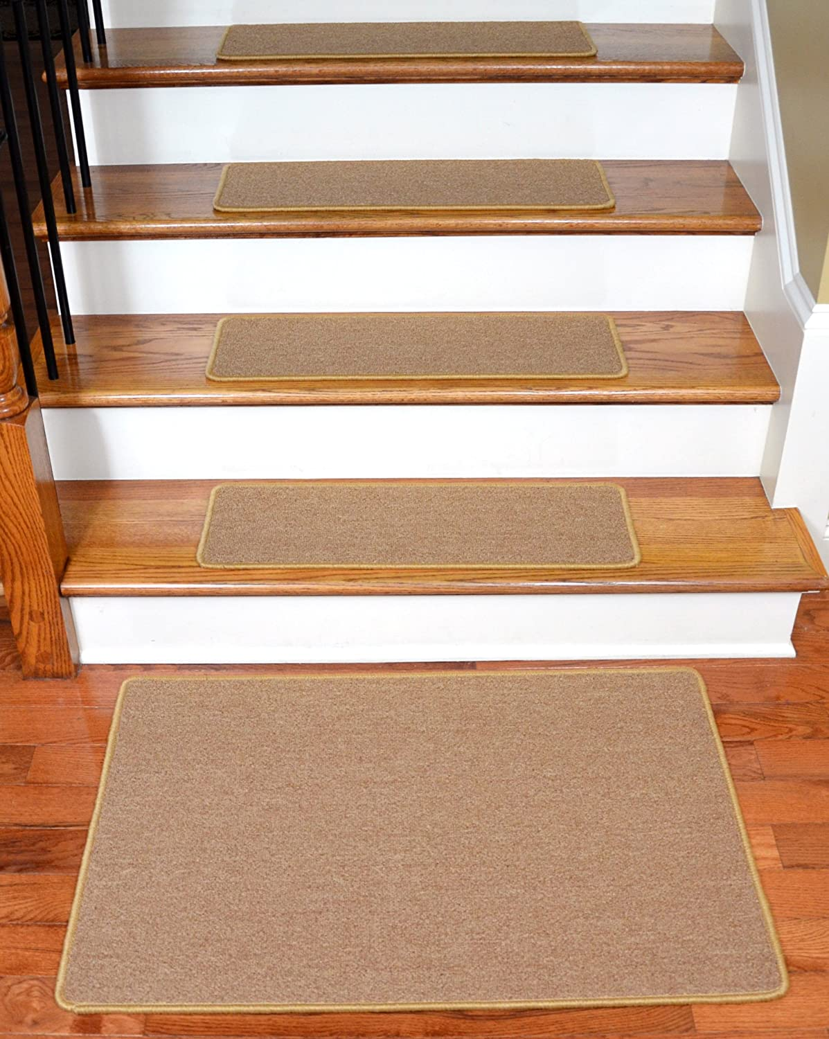 Dean Serged DIY Carpet Stair Treads 27 x 9 - Golden Camel - Set of 13 Plus a Matching 2' x 3' Landing Mat Dean Flooring Company ST-081012GCWM