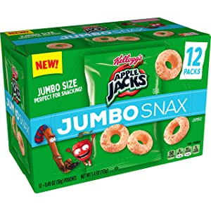 Kellogg's Apple Jacks Jumbo Snax, Cereal Snacks, On the Go, 5.4oz Box (12 Count)