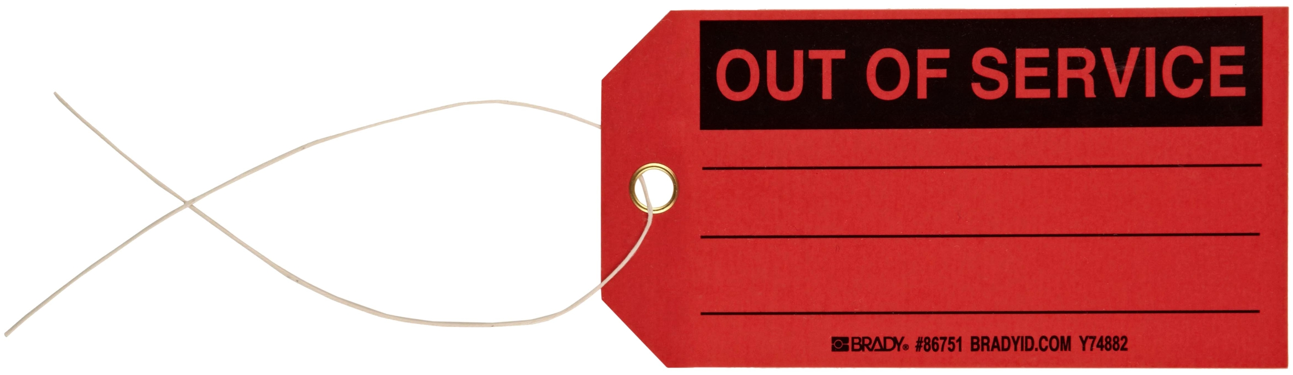 Brady 86751 5-3/4'' Height, 3'' Width, B-853 Cardstock, Black On Red Color Production Status Tag, Legend ''Out Of Service'' (Pack Of 100)