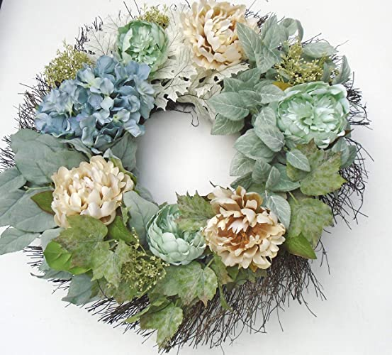 Genial Fall Front Door Luxury Wreath Featuring Soft Toned Fall Blooms