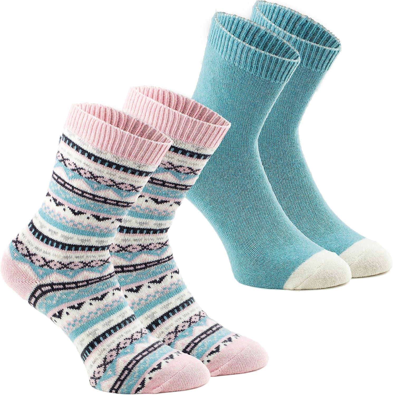 BRUBAKER Pack de dos pares de calcetines mujeres divertidos sencillo/noruego cashmere touch menta rosa: Amazon.es: Ropa y accesorios