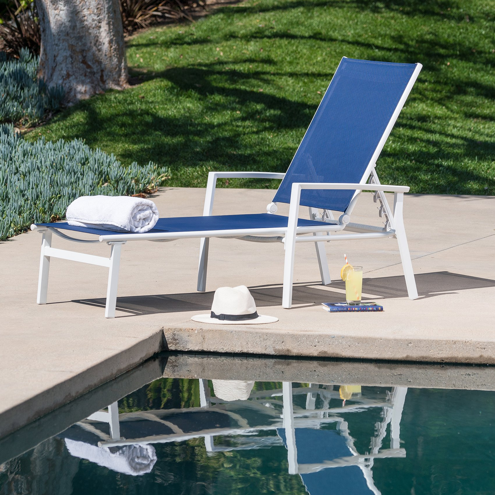 Cambridge NOVACHS-NVY Sling Chaise, Navy Blue White by Cambridge