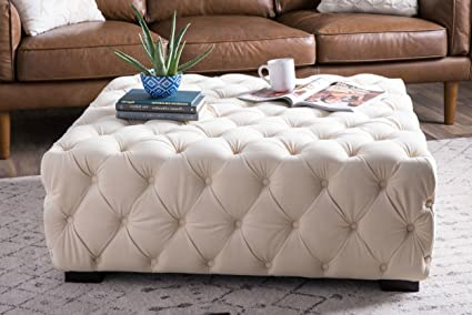 Soft Ottoman Coffee Table.Amazon Com Comfort Creme Tufted Soft Large Velvet Fabric Square