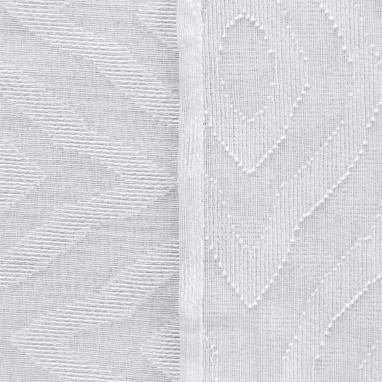 Deconovo Visillos Cortina Transl/úsida de Jacquard Sal/ón Moderna Decoraci/ón de Hogar Efecto Lino con Ojales Juego de 2 Piezas 140 x 180 CM Color Blanco