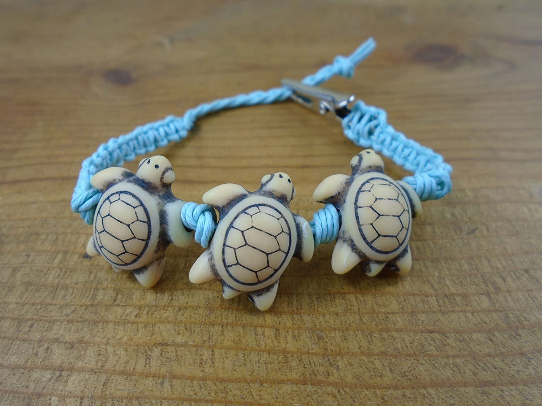 Turtle Bracelet Anklet Carolina Blue Hemp Macrame Adjustable 6-8 Inches Men's Women's Clip On