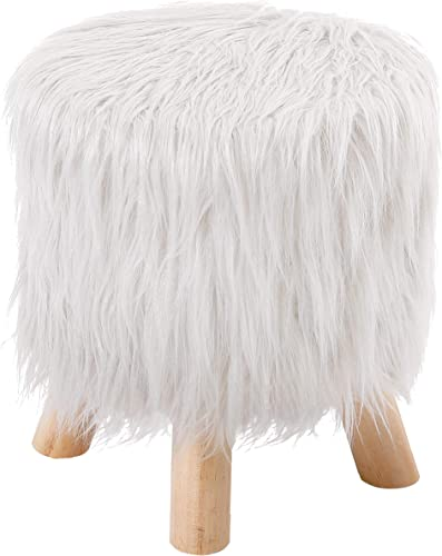 BirdRock Home White Faux Fur Foot Stool Ottoman Soft Compact Padded Seat