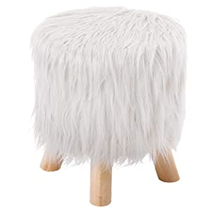 BIRDROCK HOME White Faux Fur Foot Stool Ottoman – Soft Compact Padded Seat - Living Room, Bedroom and Kids Room Chair – Black Wood Legs - Upholstered Decorative Furniture Rest – Vanity Seat