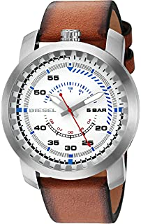 Diesel Mens Rig Quartz Stainless Steel and Leather Watch, Color:Brown (