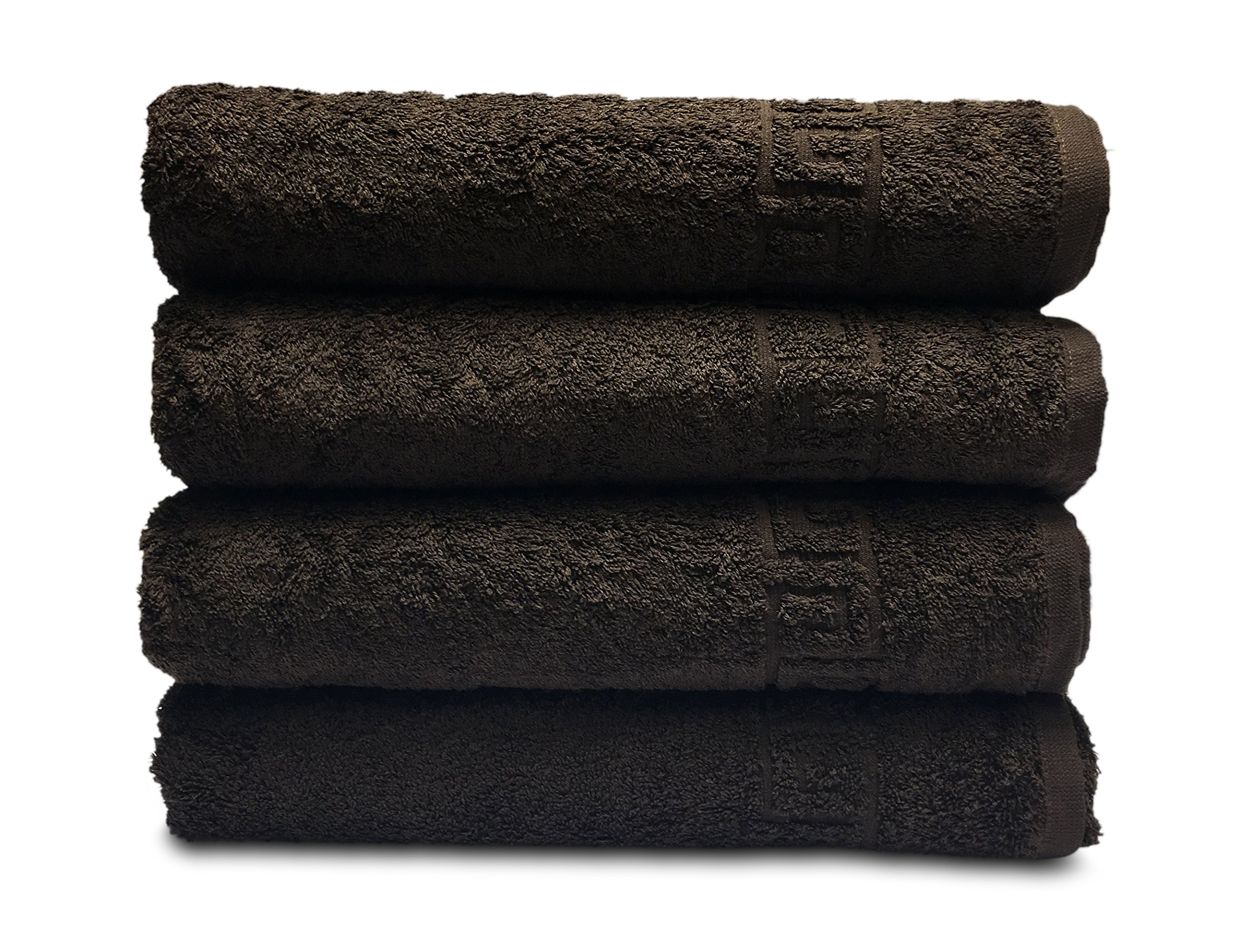 Goza Towels Greek Key Design Cotton Towels (Dark Brown, Hand Towels - 4 Pack)