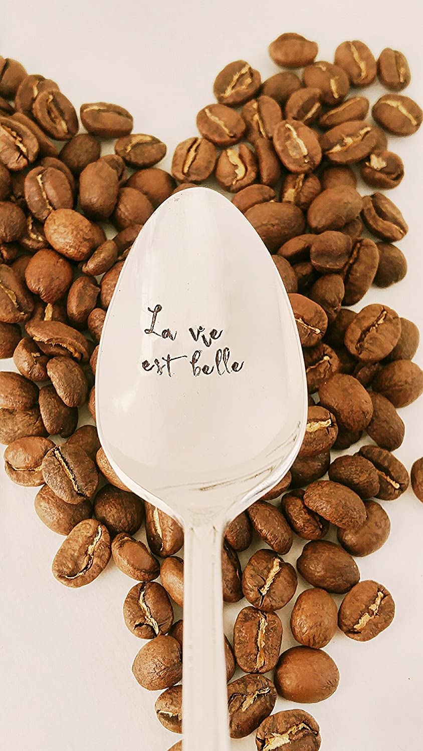 French Quote Hand Stamped Spoon Engraved Spoon La Vie Est Belle Life Is Beautiful
