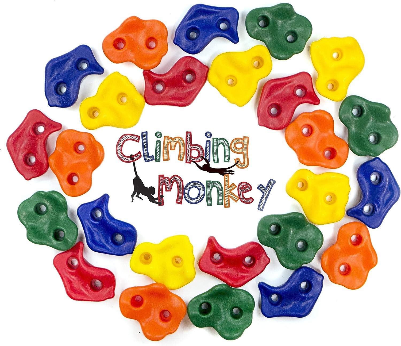 Climbing Monkey Climbing Holds -- 25 Rock Climbing Holds - Premium HD Mounting Hardware Included -- Climbing Rocks for DIY Rock Climbing Wall: Toys & Games