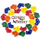 Climbing Monkey Climbing Holds -- 25 Rock Climbing Holds - Premium HD Mounting Hardware Included -- Climbing Rocks for DIY Ro