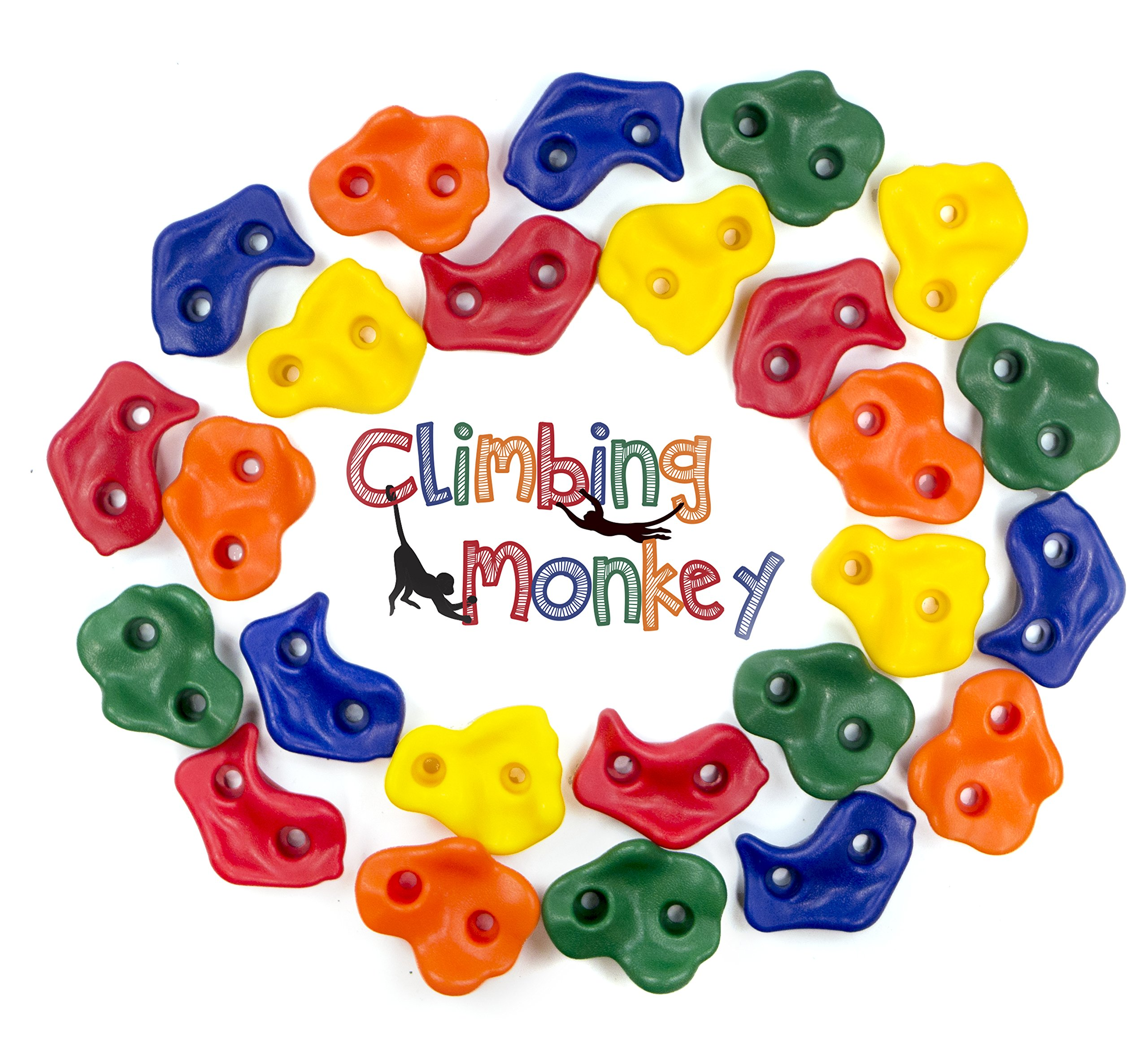 Climbing Monkey Climbing Holds -- 25 Rock Climbing Holds - Premium HD Mounting Hardware Included -- Climbing Rocks for DIY Rock Climbing Wall