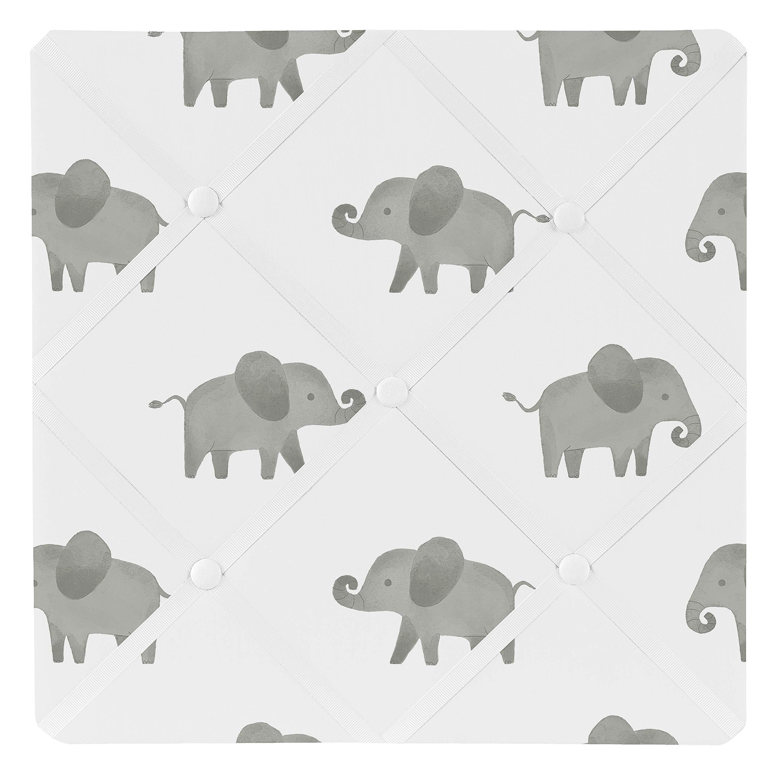 Sweet Jojo Designs Grey and White Fabric Memory Memo Photo Bulletin Board for Mint Watercolor Elephant Safari Collection