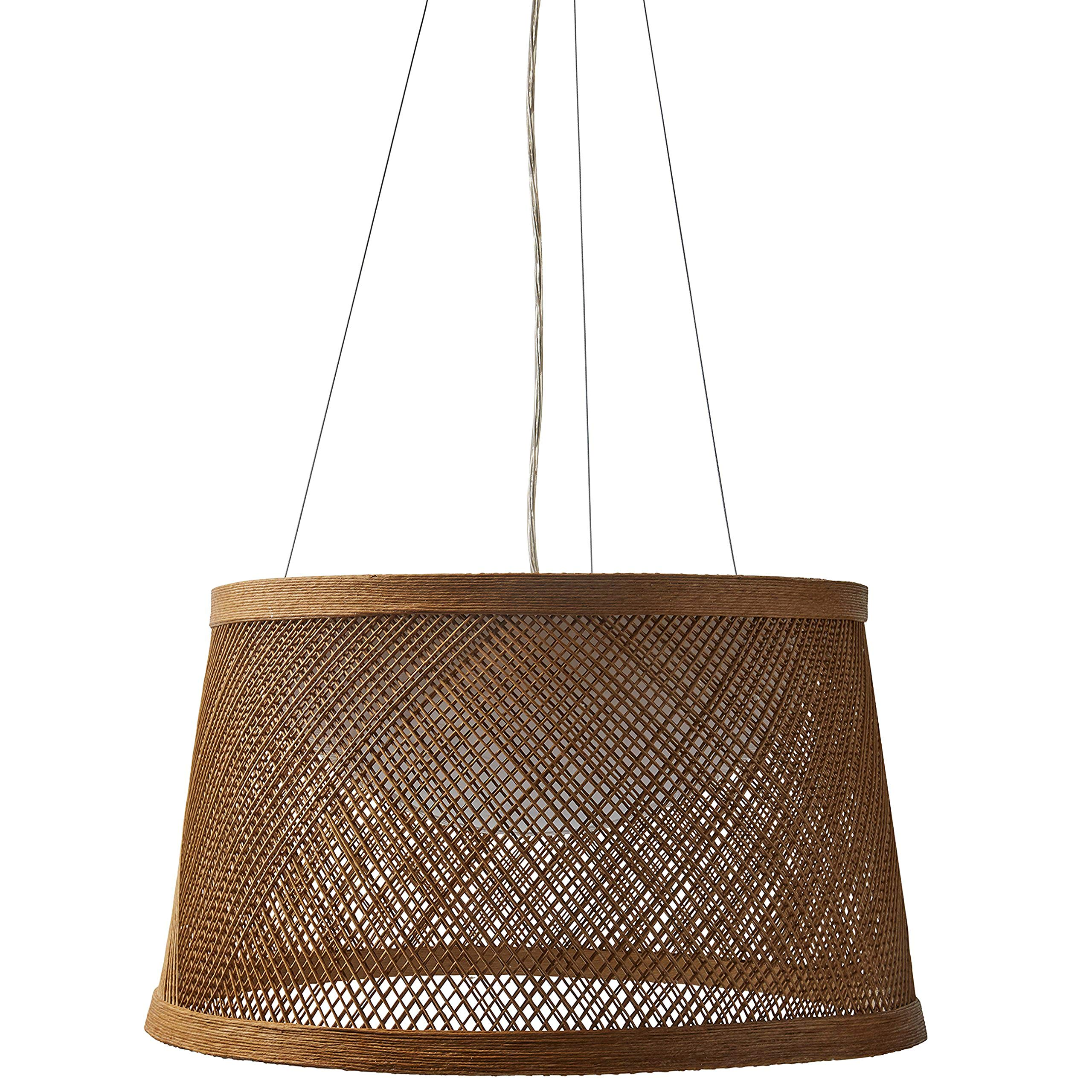 Stone & Beam Modern Coastal Raffia Ceiling Hanging Pendant Chandelier Fixture With Built-In LED Light - 20.3 x 11 Inch Shade by Stone & Beam