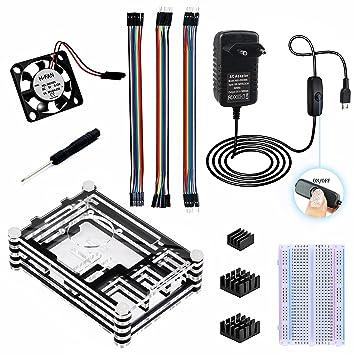 Para Raspberry Pi 3 Modelo B Kit [Carcasa de acrílico de 9 capas + Cargador de corriente de 3A 5V con interruptor interrumpido + disipadores de calor ...