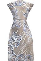 Notch Men's Necktie CELEBORN - Metallic beige twill, big white & blue flowers