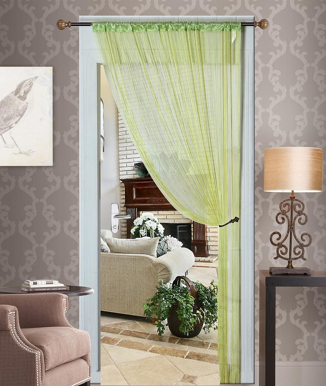 Kashi Home Thread Curtain with Taffeta Rod Pocket, Lime