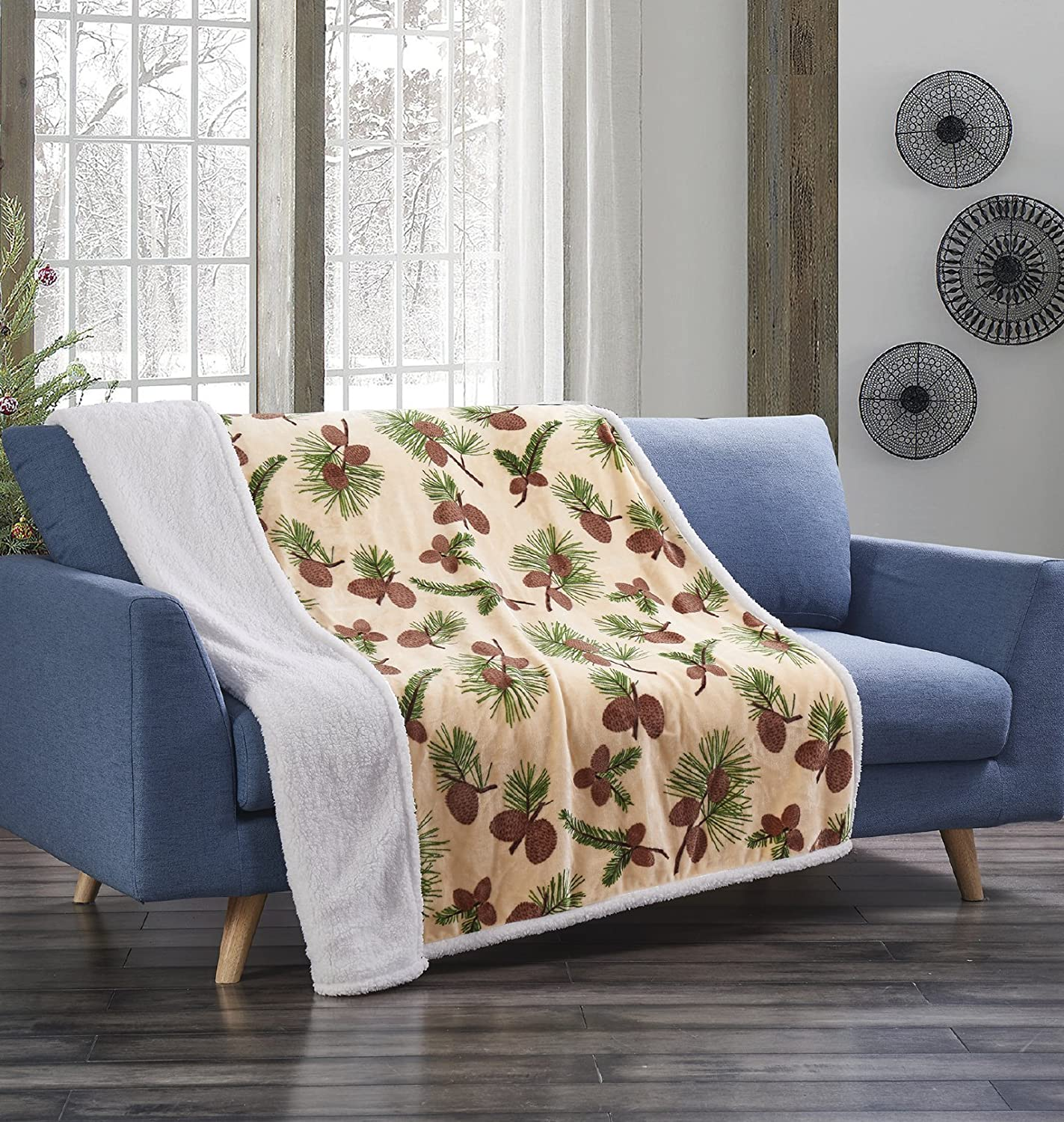 "Forest Pines Beige Pinecone Flannel Throw Blanket with Sherpa Backing 50"" x 60"""
