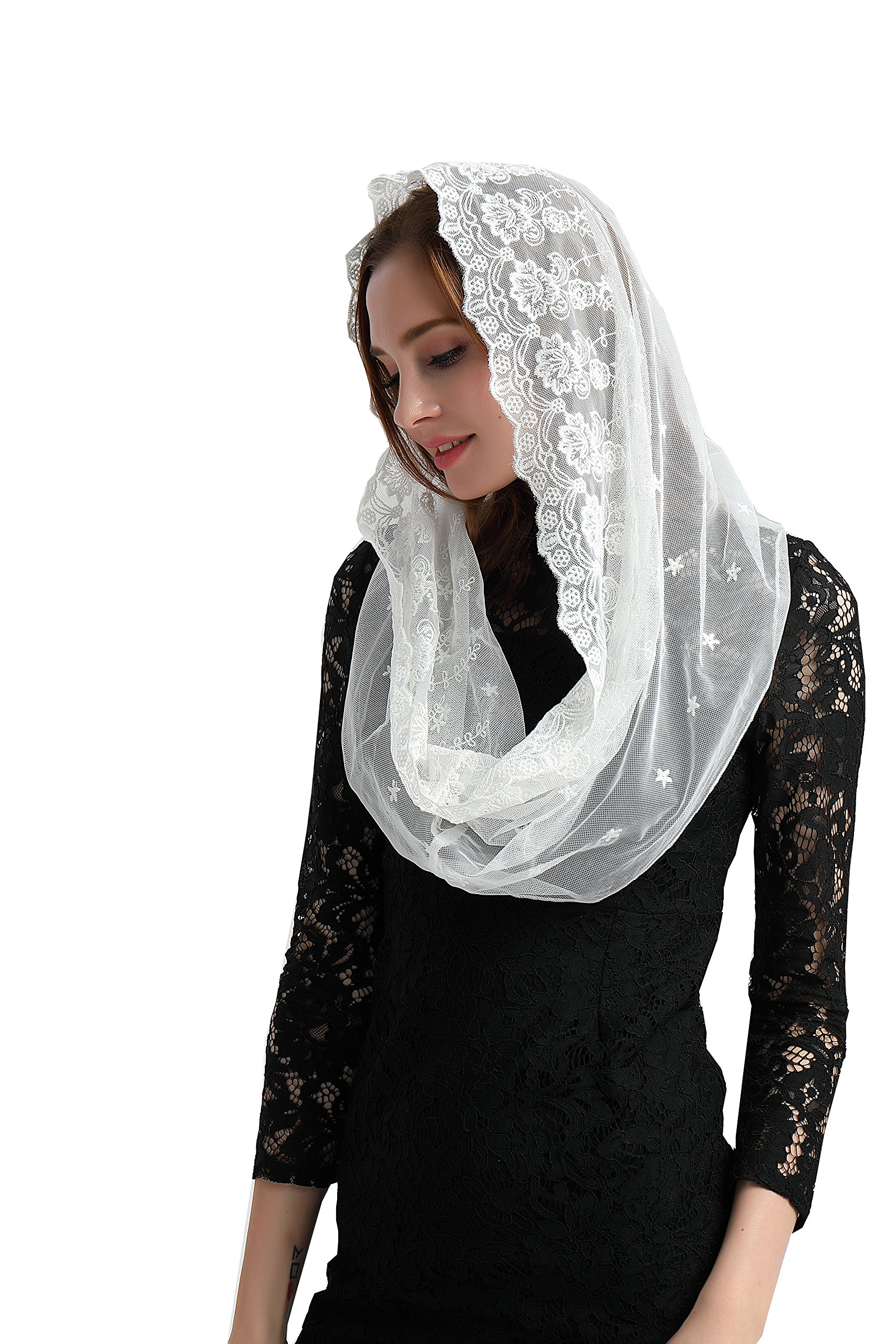 Ivory Embroidered Veil Chapel Veil Catholic Chapel Mantilla Church Veil V01(Style two) (Ivory)
