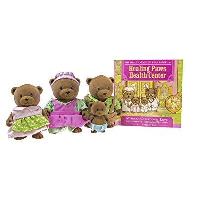 Li'l Woodzeez Bear Family Set – Healthnuggle Bears with Storybook – 5pc Toy Set with Miniature Animal Figurines – Family Toys and Books for Kids Age 3+, Brown/A: Toys & Games