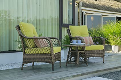 Excellent Nv Outdoor Furniture Wicker Chairs 3 Pieces Modern Patio Chairs Furniture Sofa With Pillows Tea Table Glass Top Thick Durable Seat Cushions Vintage Pdpeps Interior Chair Design Pdpepsorg