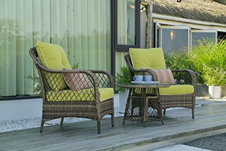 N V Outdoor Furniture Wicker Chairs 3 Pieces Modern Patio Chairs Furniture Sofa with Pillows Tea Table Glass Top Thick Durable Seat Cushions Vintage Couch Sets for Garden Backyard Pool