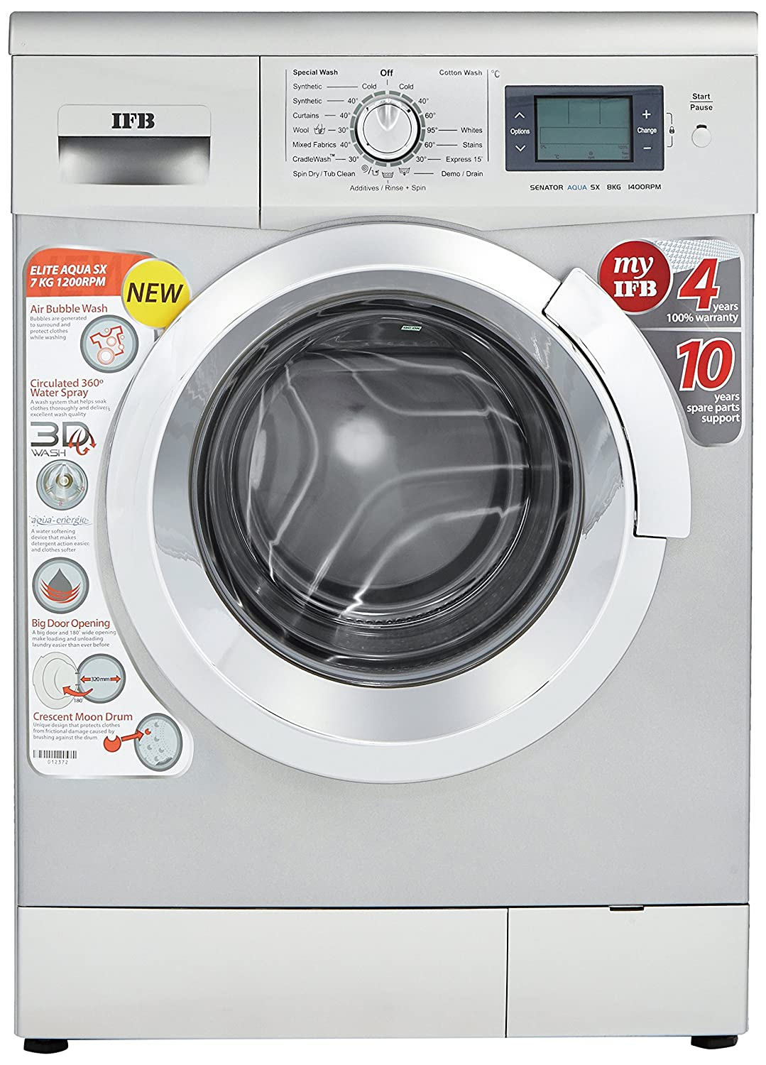IFB 7 kg Fully-Automatic Front Loading Washing Machine (Elite Aqua SX ,  Silver): Amazon.in: Home & Kitchen