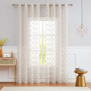 """Fragrantex Geometric Diamond Patterns Linen Sheer Curtains 84 inches Long for Living Room/Bedroom,Embroidery Window Panels 54"""" Wx84 L Grommet Top/2 Panels"""