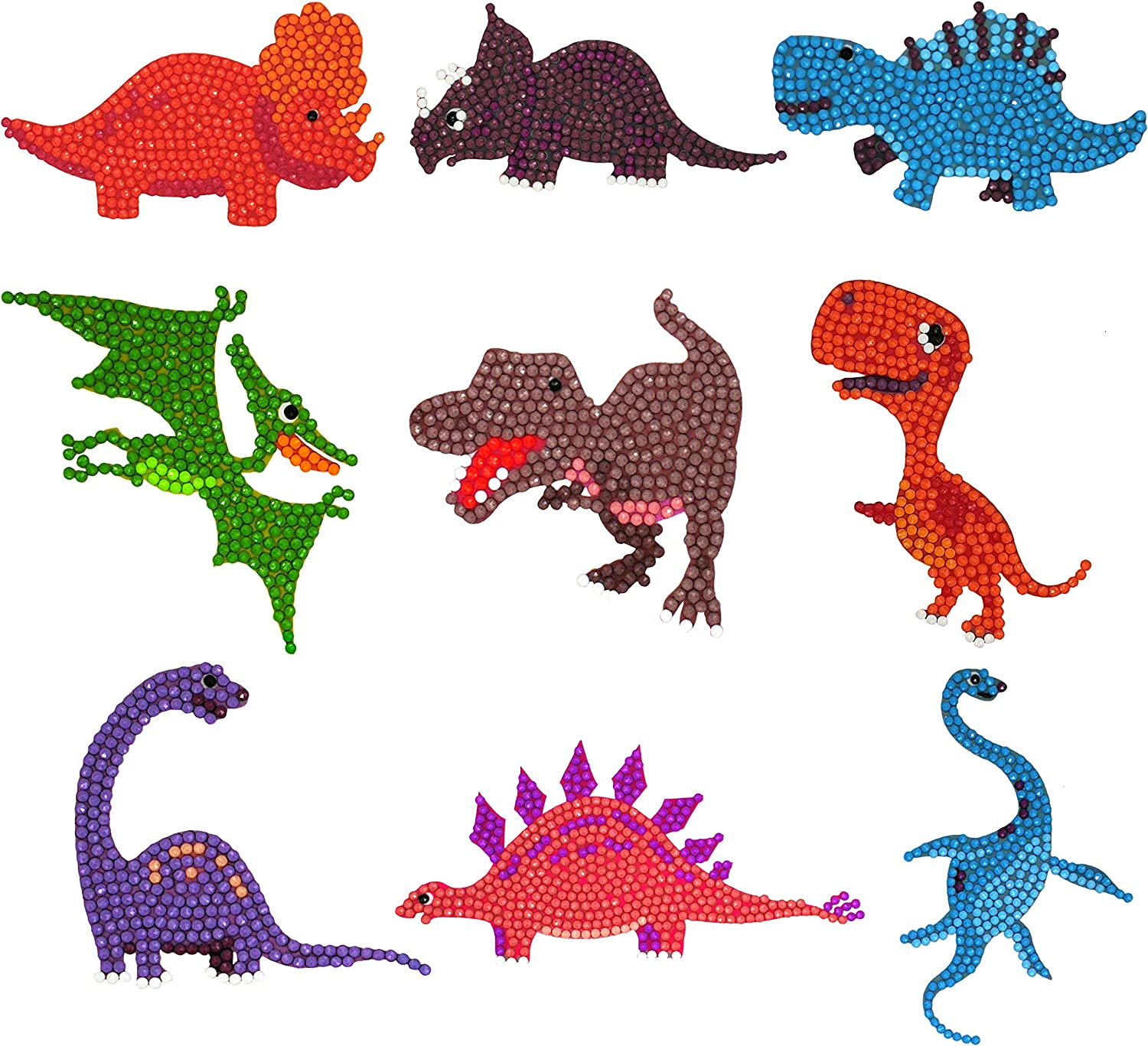 Labeol 18Pcs 5D Dinosaurs Diamond Painting Stickers Kits for Kids Easy to DIY Creative Diamond Dotz Mosaic Sticker Craft by Numbers Kits for Kids and Adult Beginners Dinosaur