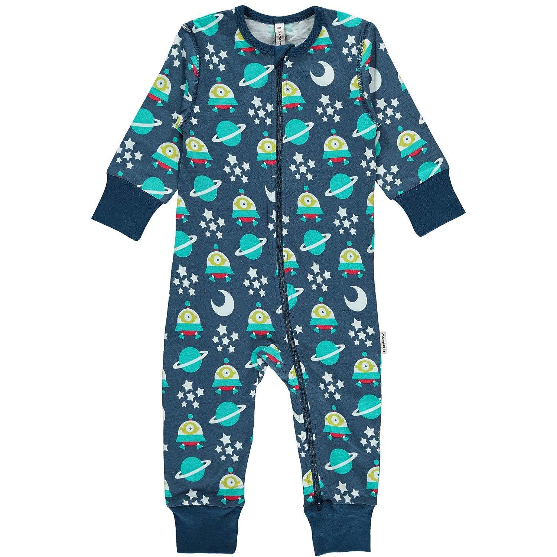 Maxomorra Baby Jungen Schlafstrampler Blau mit Weltraum Motiv Space Ship