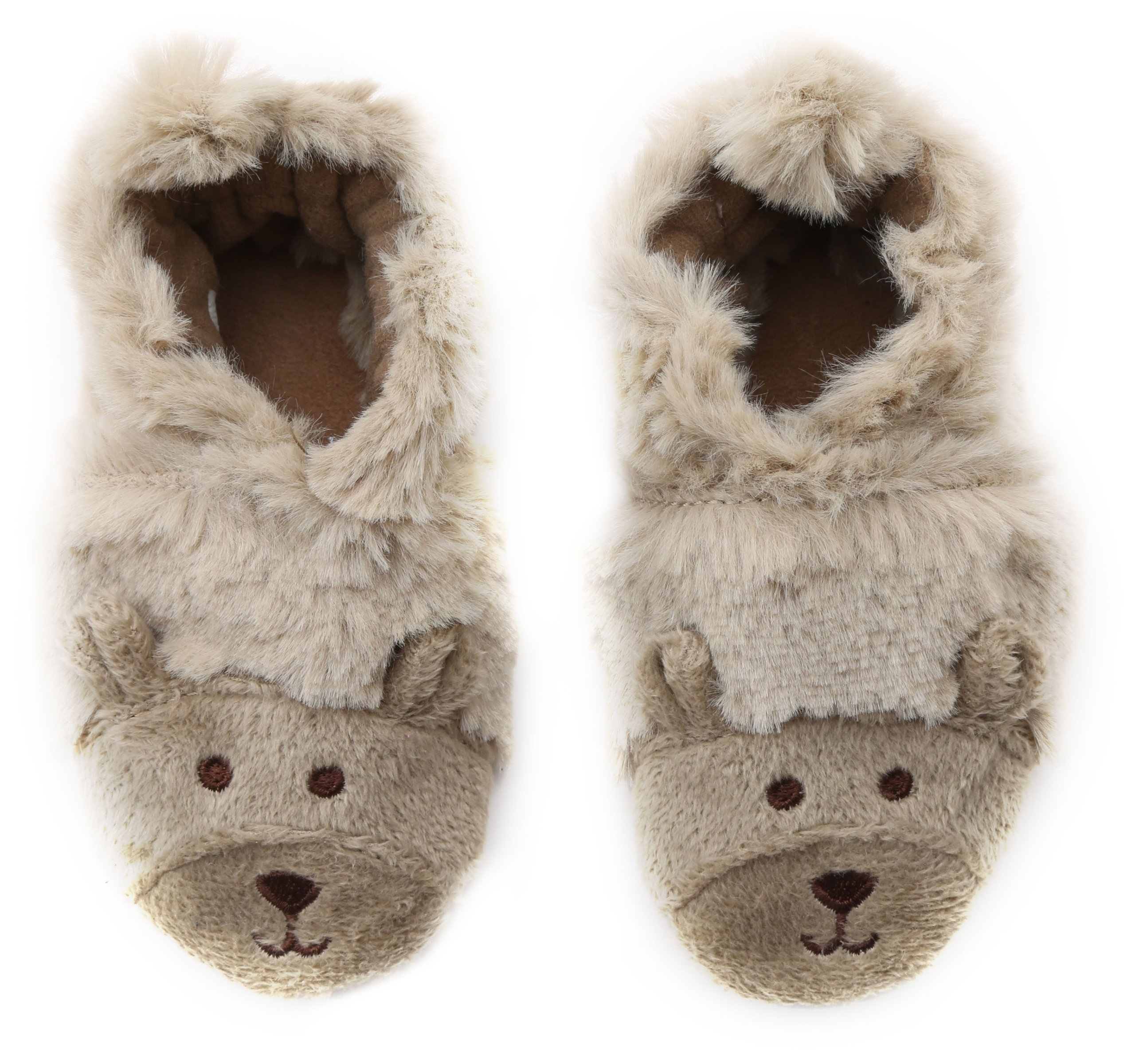 Robeez Fuzzy Bear Slipper Crib Shoe (Infant), Taupe, 6-12 Months M US Infant by Robeez