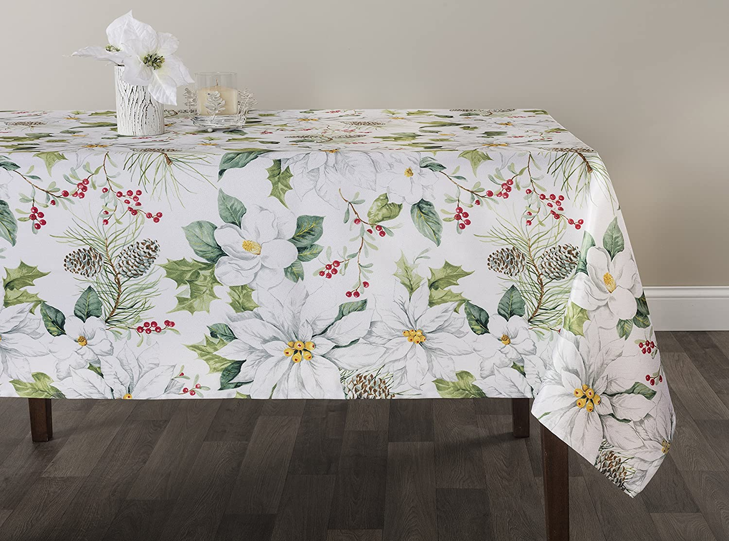 Christmas Tablecloths.Benson Mills Winter Poinsettia Herringbone Print Christmas Tablecloths White Poinsettia 60 X 84 Rectangular