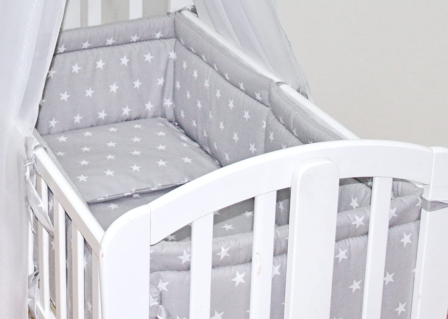 6pcs BABY SWINGING/ROCKING CRIB/CRADLE BEDDING SET/ALL ROUND BUMPER 100% COTTON (Grey Stars) MDSS LTD