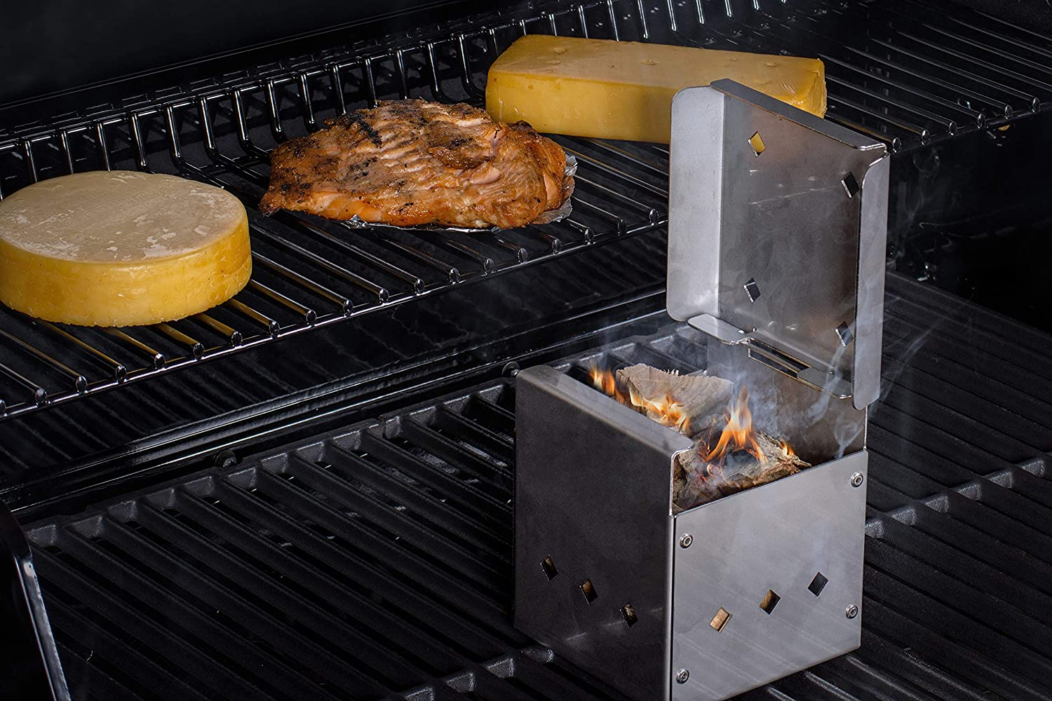 DKS Smoker Cooker Box for Grill   Turn Any BBQ Grill Into A Smoker   No Propane or Charcoal Needed   Provides All The Heat and Smoke to Cook Any Food (64 cu inches)