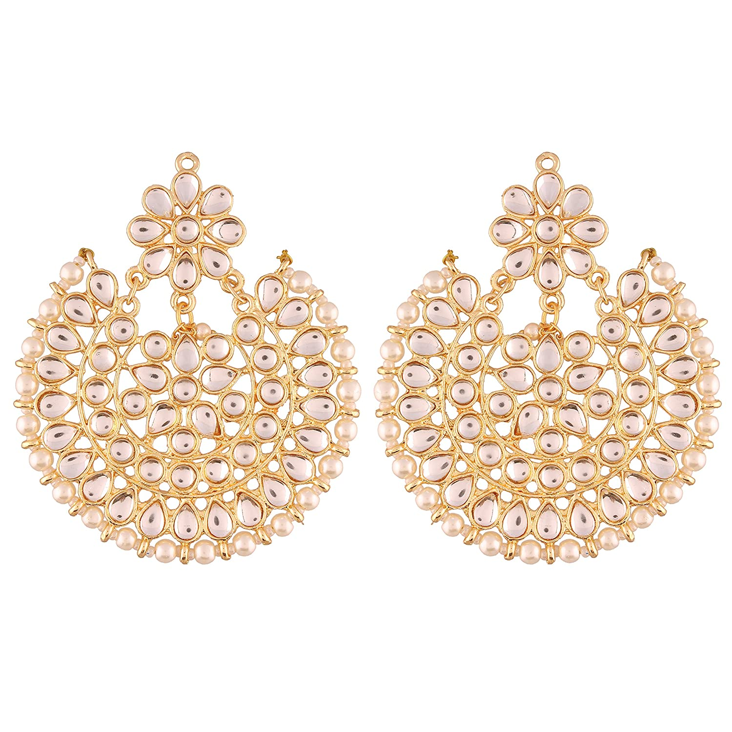 I Jewels Indian Bollywood Jewelry Round Ethnic Earrings for women ED14W