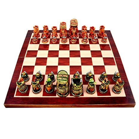 Aone India 18 x 18 Collectible Wooden Made Chess Board Game Set + All Wooden Pieces
