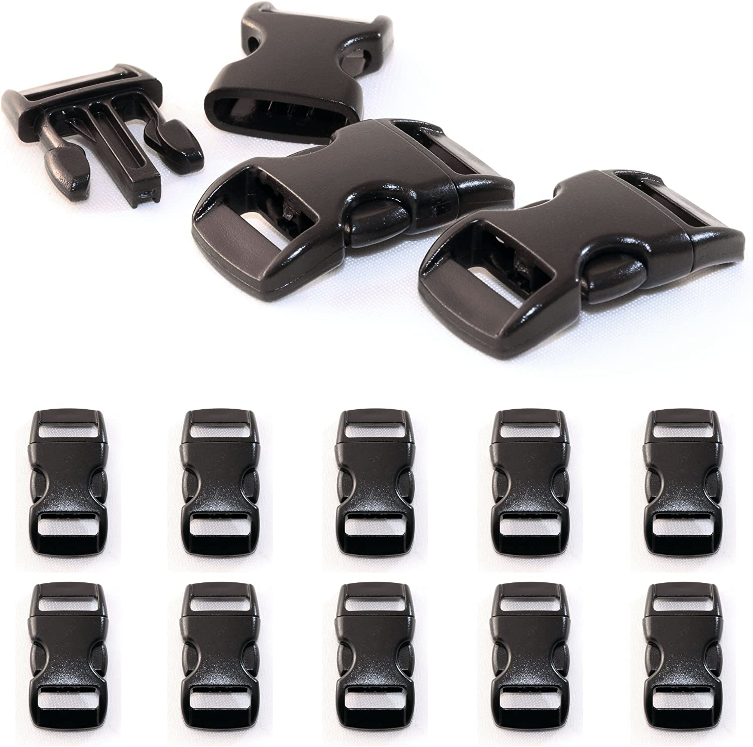 Ganzoo Set of 10 3/8 Inch Click-release Catches / Buckle Clips (Click Buckle) made of Plastic for Paracord Bracelets, Cords etc., 29 mm x 15 mm, Colour: Black by Ganzoo