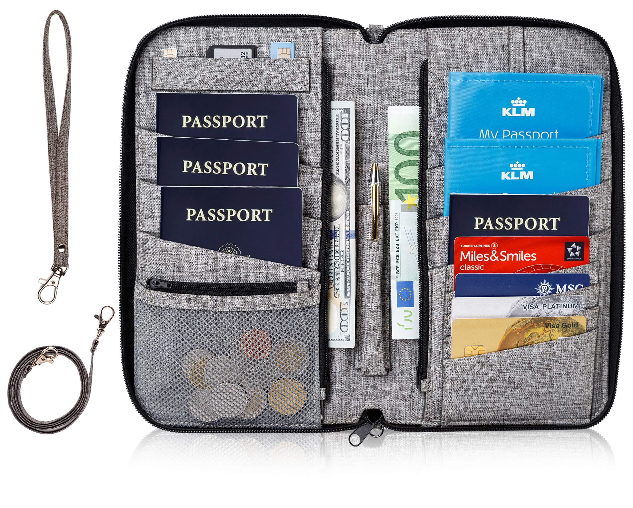 Valante Premium Family Travel Document Organizer Capacious RFID Passport Holder Wallet