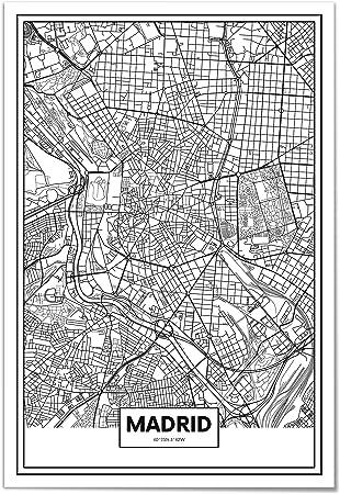 Panorama Póster Mapa de Madrid 70x100cm - Impreso en Papel 250gr - Póster Pared - Cuadros Modernos Decoración Salón - Cuadros para Dormitorio - Póster Decorativos: Amazon.es: Juguetes y juegos