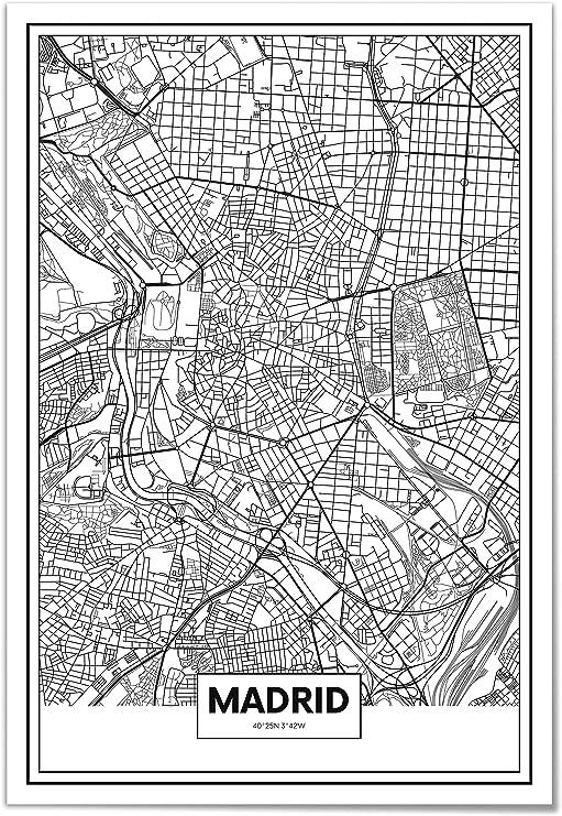 Panorama Póster Mapa de Madrid 70 x 100 cm - Impreso en Papel ...