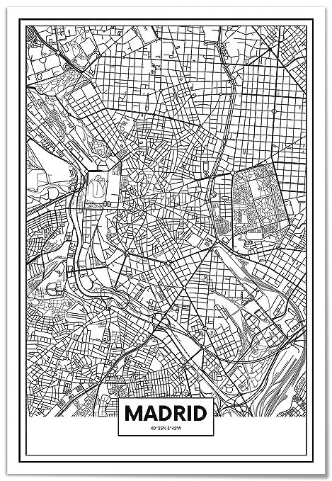 Panorama® Cuadro Cartón Pluma Mapa de Madrid 50 x 70 cm | Impreso en Cartón