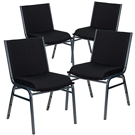 Flash Furniture 4 Pk. HERCULES Series Heavy Duty Black Dot Fabric Stack Chair
