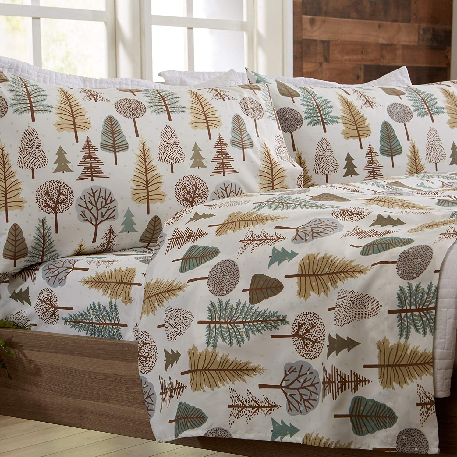 3-Piece Lodge Printed Ultra-Soft Microfiber Sheet Set. Beautiful Patterns Drawn from Nature, Comfortable, All-Season Bed Sheets. (Twin, Forest Trail)
