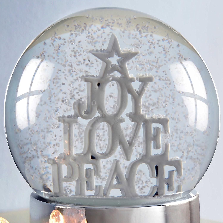 12 cm WeRChristmas Joy Love Peace Snow Globe Christmas Decoration White
